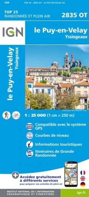 2835OT  Yssingeaux, le Puy-en-Velay | wandelkaart 1:25.000 9782758543145  IGN IGN 25 Auvergne  Wandelkaarten Auvergne