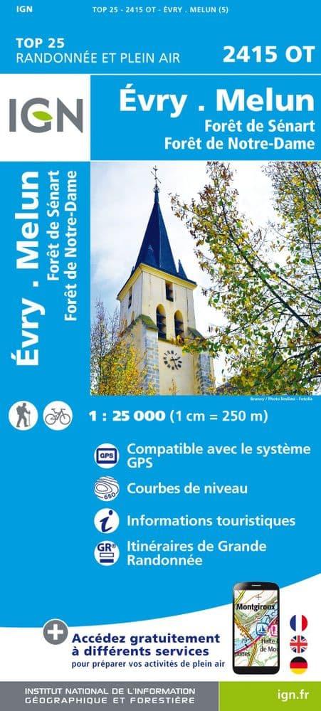 2415OT  Evry, Melun | wandelkaart 1:25.000 9782758543442  IGN IGN 25 Île-de-France  Wandelkaarten Parijs, Île-de-France