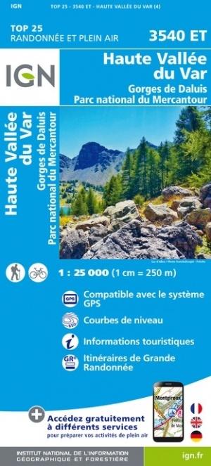 3540ET  Haute Vallée du Var | wandelkaart 1:25.000 9782758545682  IGN IGN 25 Franse Alpen/ zuidhelft  Wandelkaarten Franse Alpen: zuid