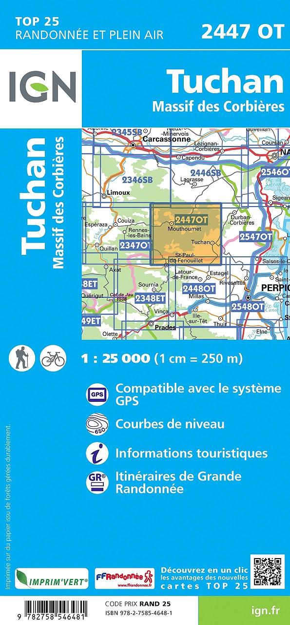 2447OT  Mouthoumet, Tuchan | wandelkaart 1:25.000 9782758546481  IGN IGN 25 Cevennen & Languedoc  Wandelkaarten Cevennen, Languedoc