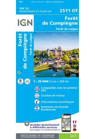 2511OT   Compiègne | wandelkaart 1:25.000 9782758546498  IGN IGN 25 Picardië & Nord  Wandelkaarten Picardie, Nord