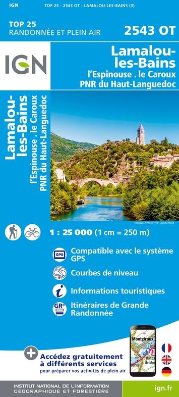 2543OT   Lamalou-les-Bains, Olargues | wandelkaart 1:25.000 9782758546528  IGN IGN 25 Cevennen & Languedoc  Wandelkaarten Cevennen, Languedoc