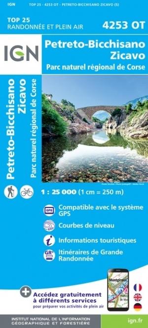 4253OT: Petreto Bicchisano, Zicavo | wandelkaart 1:25.000 9782758546856  IGN IGN 25 Corsica  Wandelkaarten Corsica