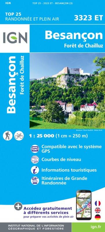3323ET  Besançon | wandelkaart 1:25.000 9782758550129  IGN IGN 25 Jura (F)  Wandelkaarten Franse Jura