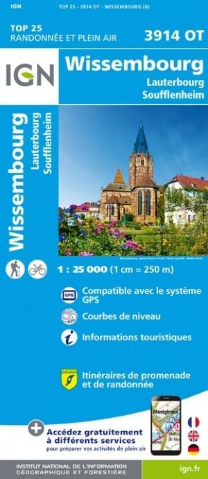 wandelkaart 3914OT Wissembourg 1:25.000 9782758550617  IGN IGN 25 Vogezen  Wandelkaarten Vogezen