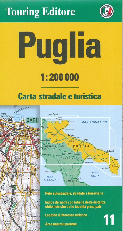 TCI-11  Puglia 1:200.000 9788836576401  TCI Italië Wegenkaarten  Landkaarten en wegenkaarten Apulië