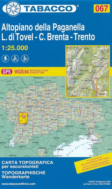 TAB-067 Altopiano della Paganella 9788883151132  Tabacco Tabacco 1:25.000  Wandelkaarten Zuid-Tirol, Dolomieten