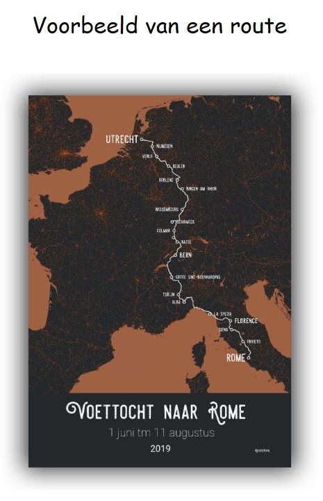 Maak je eigen reisposter: Voettocht naar Rome RP-LNR denoorderzon.reisposter.nl De Noorderzon Reisposter   Lopen naar Rome, Wandelgidsen, Wandkaarten Europa