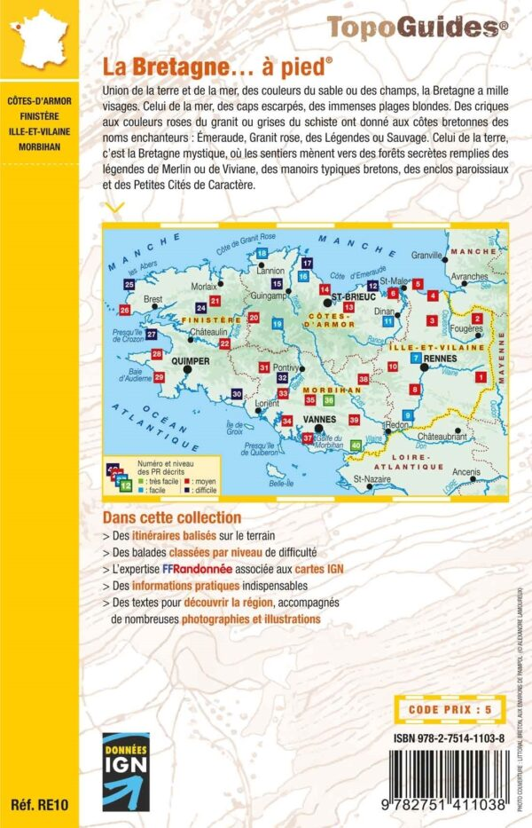 RE-10  La Bretagne | wandelgids 9782751411038  FFRP Topoguides  Wandelgidsen Bretagne
