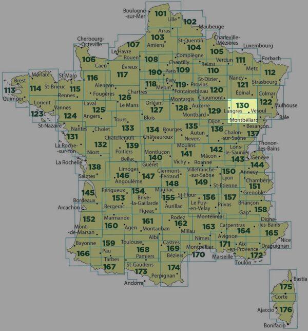 SV-130  Vesoul, Langres | omgevingskaart / fietskaart 1:100.000 9782758540823  IGN Série Verte 1:100.000  Fietskaarten, Landkaarten en wegenkaarten Lotharingen, Nancy, Metz