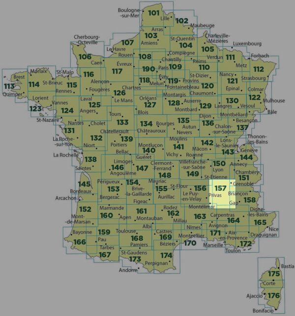SV-157  Grenoble, Montélimar | omgevingskaart / fietskaart 1:100.000 9782758540861  IGN Série Verte 1:100.000  Fietskaarten, Landkaarten en wegenkaarten Ardèche, Drôme, Franse Alpen: noord