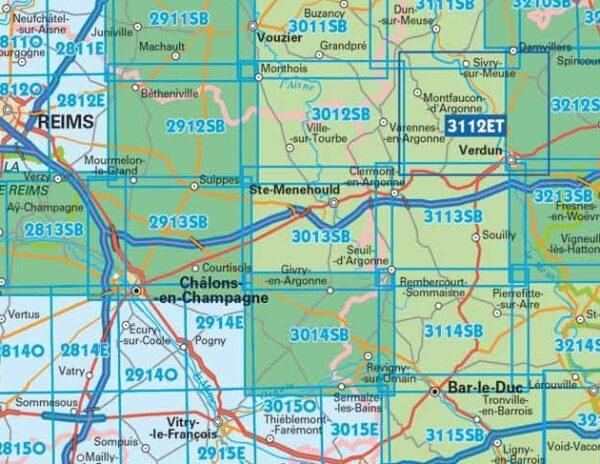 SB-3013SB Sainte-Menehould | wandelkaart 1:25.000 9782758541684  IGN IGN 25 Champagne / Ardennes  Wandelkaarten Champagne, Franse Ardennen