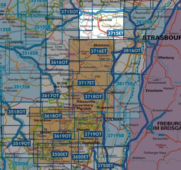 wandelkaart 3715ET Saverne, Wasselonne, Rocher de Dabo 1:25.000 9782758550457  IGN IGN 25 Vogezen  Wandelkaarten Vogezen