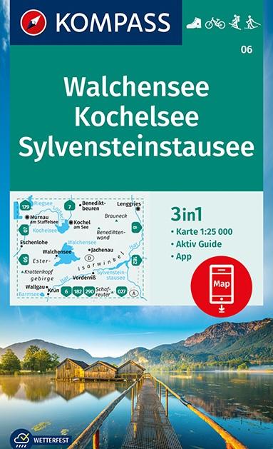 KP-06  Walchensee, Kochelsee   Kompass wandelkaart 1:25.000 9783991210313  Kompass Wandelkaarten Kompass Duitsland  Wandelkaarten Beierse Alpen