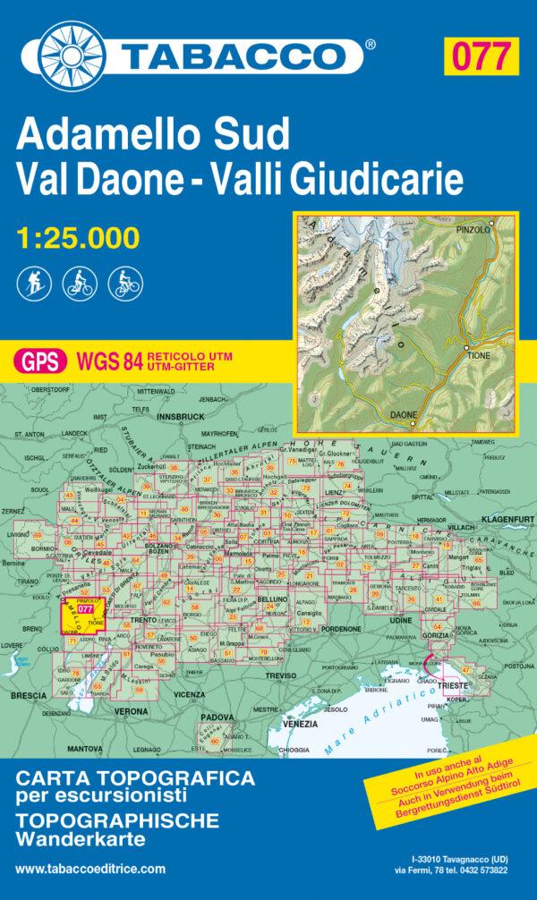 TAB-077 Adamello Sud | Tabacco wandelkaart 9788883151323  Tabacco Tabacco 1:25.000  Wandelkaarten Zuid-Tirol, Dolomieten