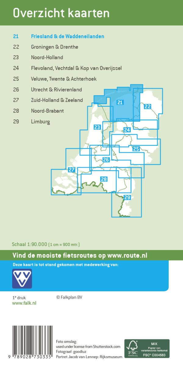 FKP-21 Friesland & de Waddeneilanden fietskaart 1:90.000 9789028704039  Falk Fietsknooppuntenkaart  Fietskaarten Friesland