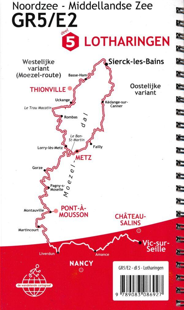 GR-5/E2 traject 3: Lotharingen  wandelgids GR5 9789083086927  De Wandelende Cartograaf   Lopen naar Rome, Meerdaagse wandelroutes, Wandelgidsen Lotharingen, Nancy, Metz