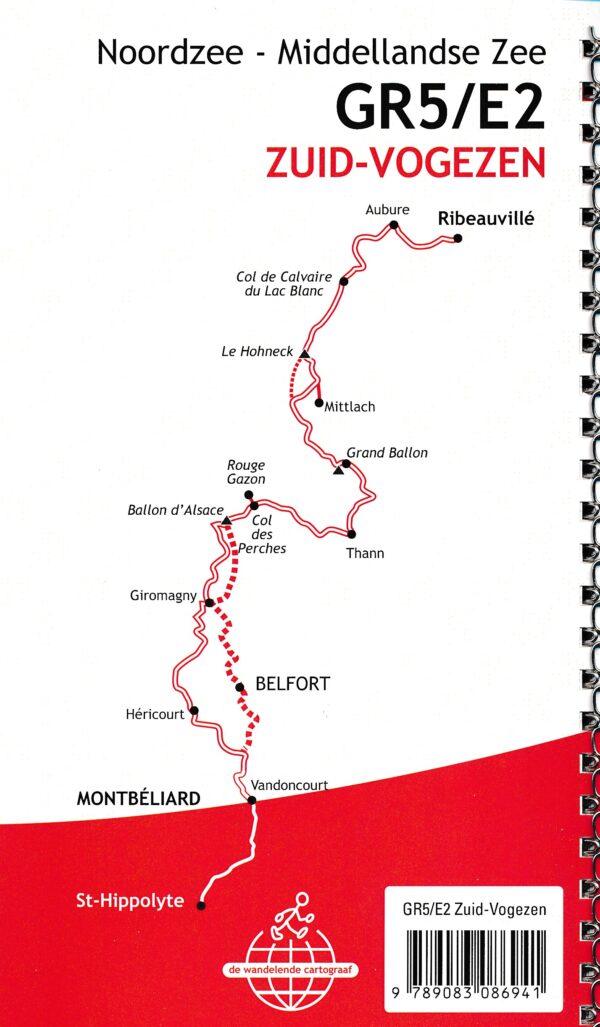 GR-5/E2 traject 5: Zuid-Vogezen  wandelgids GR5 9789083086941  De Wandelende Cartograaf   Lopen naar Rome, Meerdaagse wandelroutes, Wandelgidsen Vogezen