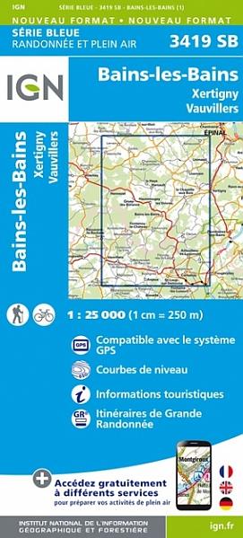 wandelkaart 3419-SB Bains-les-Bains, Xertigny, Vauvillers 1:25.000 9782758550150  IGN IGN 25 Vogezen  Wandelkaarten Vogezen