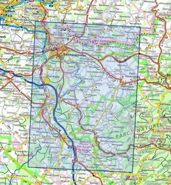 3613ET   Sarreguemines | wandelkaart 1:25.000 9782758550310  IGN ING 25 Vogezen  Wandelkaarten Vogezen