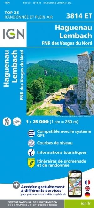 3814ET  Haguenau - Wissembourg   wandelkaart 1:25.000 9782758550570  IGN ING 25 Vogezen  Wandelkaarten Vogezen