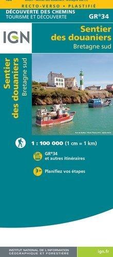 Le Sentier des Douaniers - GR-34 Bretagne Sud   wandelkaart 9782758551287  IGN   Meerdaagse wandelroutes, Wandelkaarten Bretagne