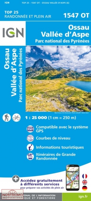 1547OT   Pic du Midi d'Ossau | wandelkaart 1:25.000 9782758551522  IGN IGN 25 Franse Pyreneeën  Wandelkaarten Franse Pyreneeën