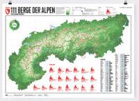 111 Alpenberge | wandkaart van de Alpen 9783946719106  Marmota Maps   Wandkaarten Zwitserland en Oostenrijk (en Alpen als geheel)