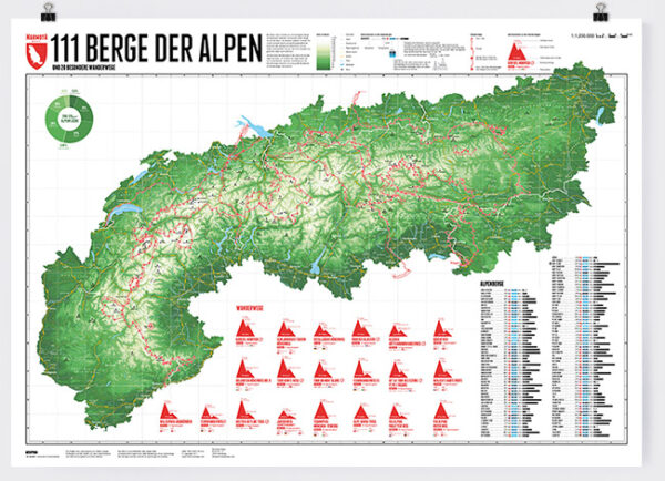111 Berge der Alpen | wandkaart van de Alpen 9783946719106  Marmota Maps   Wandkaarten Zwitserland en Oostenrijk (en Alpen als geheel)