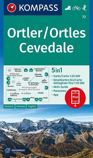 KP-72 Ortler 1:50.000   Kompass wandelkaart 9783990443972  Kompass Wandelkaarten Kompass Italië  Wandelkaarten Zuid-Tirol, Dolomieten