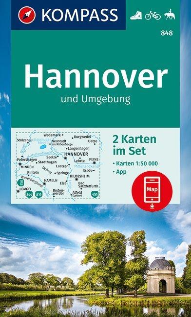 KP-848 Hannover, Weserbergland e.o. (met intekening E11) | Kompass 9783990449981  Kompass Wandelkaarten Kompass Duitsland  Wandelkaarten Lüneburger Heide, Hannover, Weserbergland