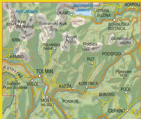 TAB-066  Tolmin, Bohinjske Gore, Krn, Rodica   Tabacco wandelkaart 9788883151125  Tabacco Tabacco 1:25.000  Wandelkaarten Slovenië