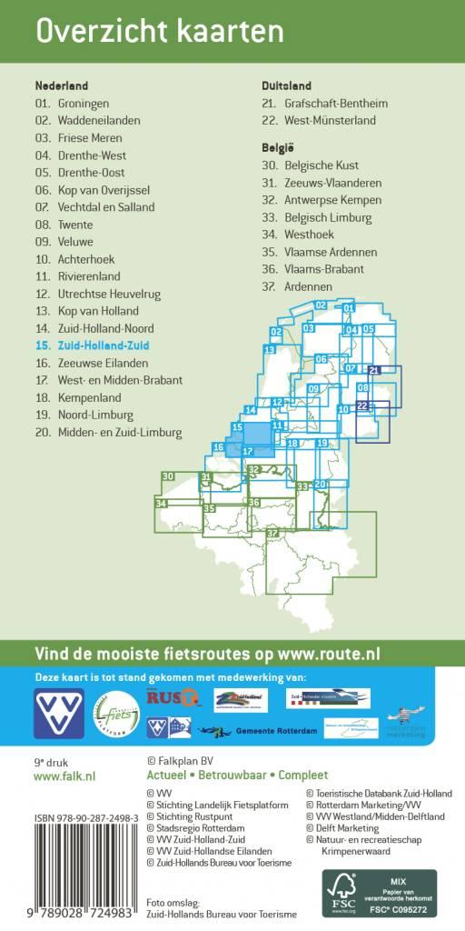 FFK-15  Zuid-Holland / Zuid   VVV fietskaart 1:50.000 9789028704084  Falk Fietskaarten met Knooppunten  Fietskaarten Den Haag, Rotterdam en Zuid-Holland