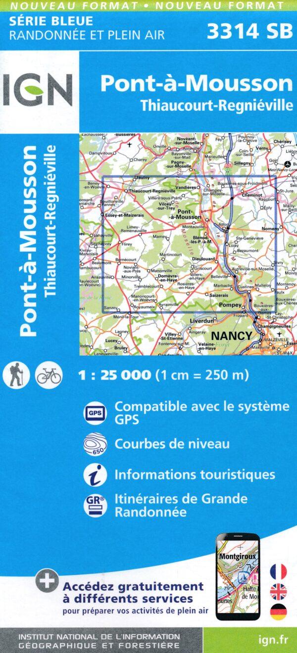 wandelkaart 3314-SB Pont-à-Mousson, Thiaucourt-Regniéville 9782758541844  IGN IGN 25 Lotharingen  Wandelkaarten Lotharingen, Nancy, Metz