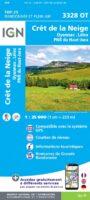 3328OT  Crêt de la Neige, Oyonnax   wandelkaart 1:25.000 9782758546672  IGN IGN 25 Jura (F)  Wandelkaarten Franse Jura