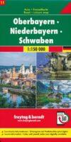 Oberbayern - Niederbayern - Schwaben wegenkaart / overzichtskaart 1:150.000 9783707918113  Freytag & Berndt F&B deelkaarten Duitsland  Landkaarten en wegenkaarten Beieren