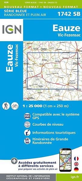 wandelkaart 1742-SB Eauze / Vic-Fezensac 1:25.000 9782758535515  IGN IGN 25 Franse Pyreneeën  Wandelkaarten