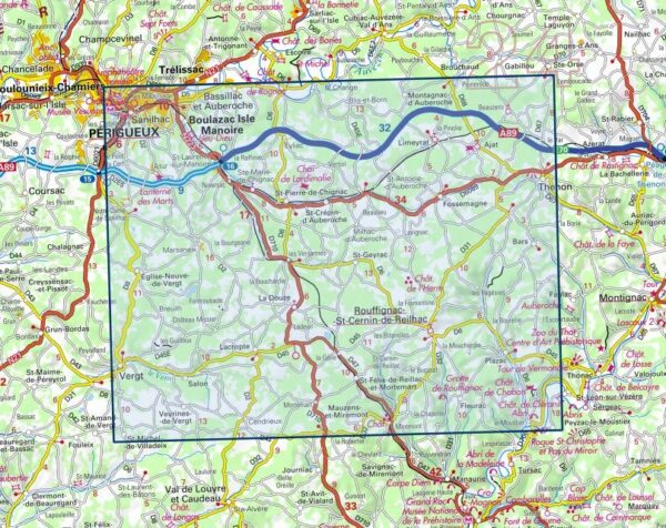 wandelkaart 1935-SB  Vergt, Thenon 1:25.000 9782758547976  IGN IGN 25 Aquitaine  Wandelkaarten Dordogne