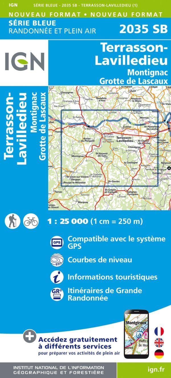 wandelkaart 2035-SB Terrasson-Lavilledieu 1:25.000 9782758548300  IGN IGN 25 Aquitaine  Wandelkaarten Dordogne