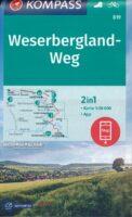 wandelkaart KP-819 Weserbergland-Weg | Kompass 9783991212911  Kompass Wandelkaarten Kompass Duitsland  Meerdaagse wandelroutes, Wandelkaarten Bremen, Ems, Weser, Hannover & overig Niedersachsen
