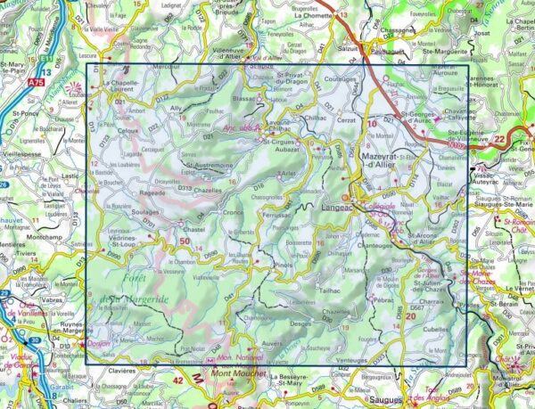 wandelkaart 2635-SB Langeac, Lavoûte-Chilhac 1:25.000 9782758548775  IGN IGN 25 Auvergne  Wandelkaarten Auvergne