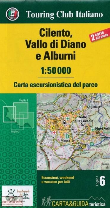 wandelkaart Cilento, Vallo di Diano en Alburni 1:50.000 9788836573295 Carta escursionistica del parco TCI Touring Club of Italy   Wandelkaarten Napels, Amalfi, Cilento, Campanië