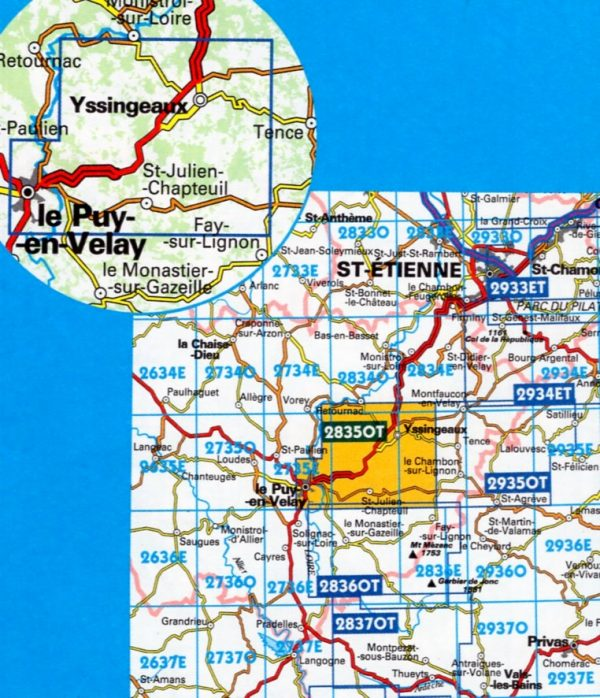 wandelkaart 2835OT Yssingeaux, le Puy-en-Velay 1:25.000 * 3282112835016  IGN IGN 25 Auvergne  Wandelkaarten Auvergne