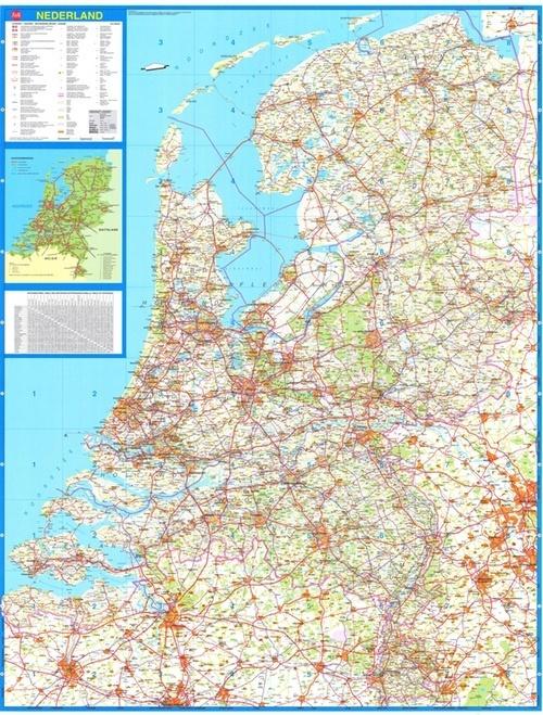 Nederland Plano Wandkaart 1:250.000 5425013060264  Falk   Wandkaarten Nederland