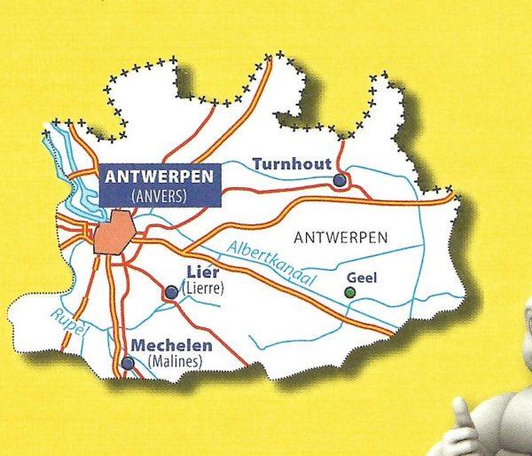 Antwerpen | Michelin provinciekaart 1:150.000 9782067185302  Michelin België 1:150.000  Landkaarten en wegenkaarten Vlaanderen