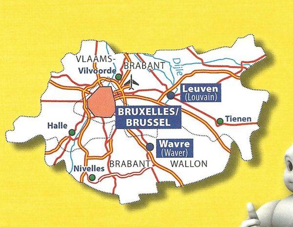 Brabant (Vlaams en Waals)   Michelin provinciekaart 1:150.000 9782067185319  Michelin België 1:150.000  Landkaarten en wegenkaarten Vlaanderen