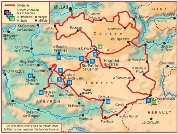 TG-710  Tour du Larzac (GR71, etc.) 9782751407925  FFRP topoguides à grande randonnée  Meerdaagse wandelroutes, Wandelgidsen Lot, Tarn, Toulouse