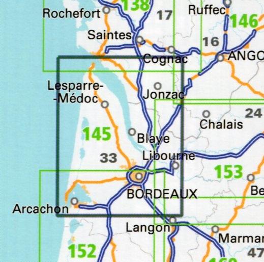 SV-145  Bordeaux, Arcachon   omgevingskaart / fietskaart 1:100.000 9782758540830  IGN Série Verte 1:100.000  Fietskaarten, Landkaarten en wegenkaarten Aquitaine, Bordeaux