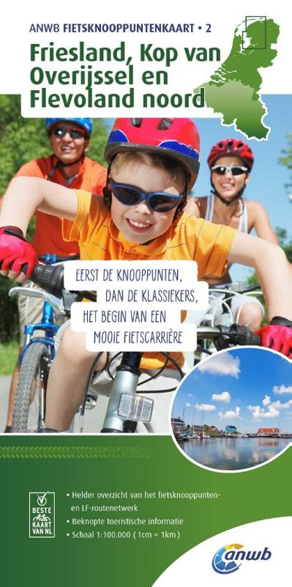AFK-2  Friesland - fietskaart 1:100.000 9789018041939  ANWB ANWB - fietskaarten 100.000  Fietskaarten Friesland, Kop van Overijssel, Vecht & Salland