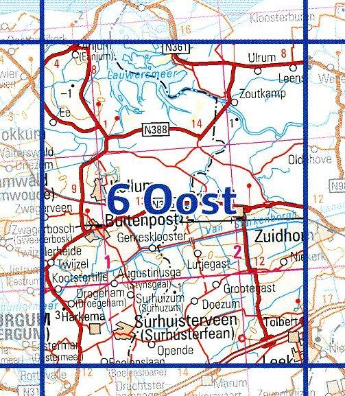 06 Oost 9789035000698  Topografische Dienst / Kadaster Ned. 1:50.000  Wandelkaarten Friesland